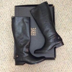 🆕 FRYE black leather tall knee high boot zip back